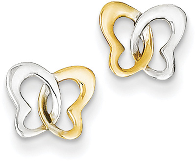 Butterfly Heart Stud Earrings, 14K Two-Tone Gold