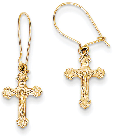 Small Crucifix Earrings in 14K Yellow Gold