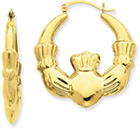 1-Inch Claddagh Hoop Earrings in 14K Yellow Gold