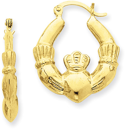 Claddagh Hoop Earrings in 14K Yellow Gold