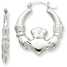 1-Inch Claddagh Hoop Earrings in 14K White Gold