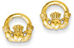 Claddagh Post Earrings in 14K Gold