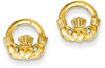 Claddagh Post Earrings in 14K Gold