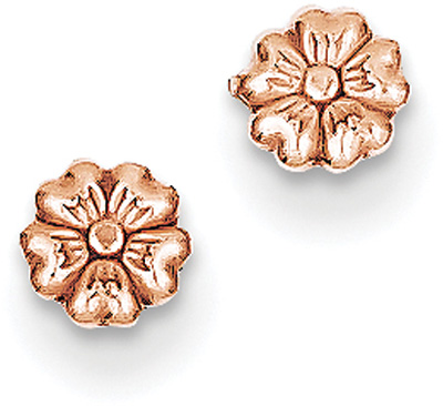 14K Rose Gold Flower Stud Earrings