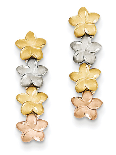 14K Tri-Color Gold Plumeria Flower Earrings