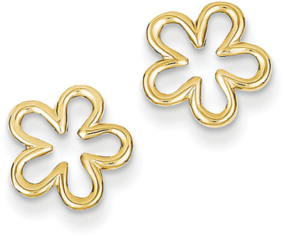 Flower Post Earrings in 14K Yellow Gold