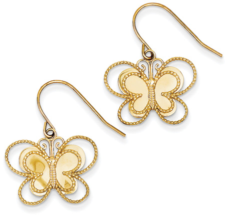 Butterfly Shepherd Hook Earrings in 14K Gold
