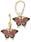 Red Butterfly Wings Earrings in 14K Gold