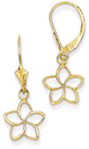Cut-Out Flower Leverback Earrings, 14K Gold