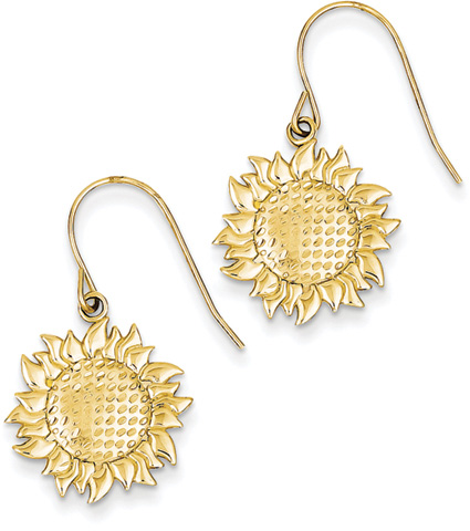 Sunflower Earrings, 14K Yellow Gold