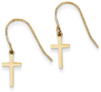 Small Plain Cross Earrings with Shepherd's Hook, 14K Gold