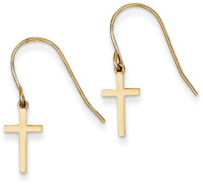 Small Plain Cross Earrings with Shepherd's Hook, 14K Gold