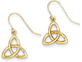 Celtic Triquetra Knot Earrings, 14K Yellow Gold