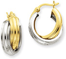 Double Hoop Earrings in 14K Two-Tone Gold