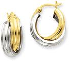 Double Hoop Earrings in 14K Two-Tone Gold