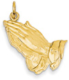Jesus Praying Hands Pendant, 14K Gold