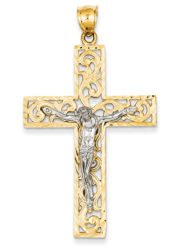 Large Paisley Design Crucifix Pendant, 14K Two-Tone Gold