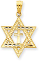 Messianic Star of David Cross Pendant, 14K Yellow Gold