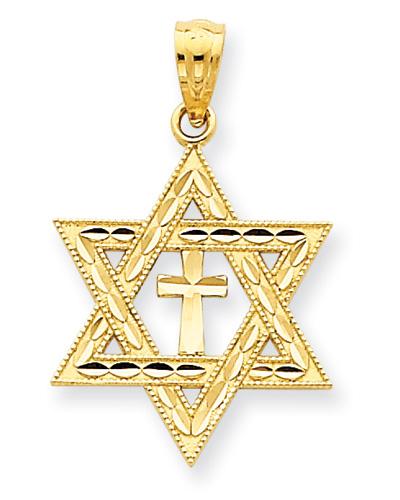 Messianic Star of David Cross Pendant, 14K Yellow Gold