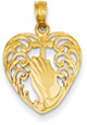 Praying Hands Cross Heart Pendant, 14K Yellow Gold
