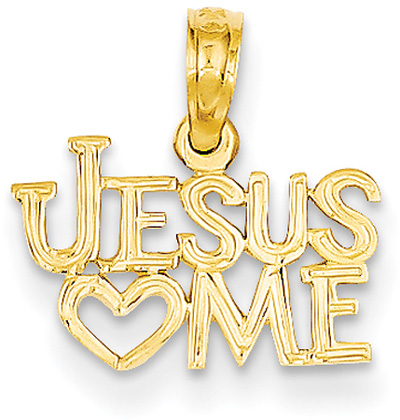 Jesus Loves Me Pendant, 14K Gold