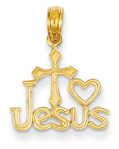 I Love Jesus Cross Pendant, 14K Yellow Gold