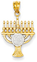 Star of David Menorah Pendant in 14K Gold