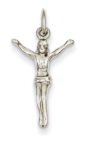 Small 14K White Gold Corpus Christi Pendant