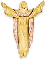 Large Risen Christ Pendant, 14K Yellow and Rose Gold