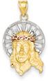 Small Jesus Pendant, 14K Tri-Color Gold