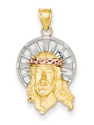 Small Jesus Pendant, 14K Tri-Color Gold