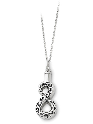Antiqued Infinity Sign Ash Holder Cremation Necklace