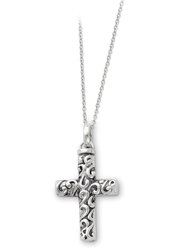 Antiqued Cross Ash Holder Cremation Necklace