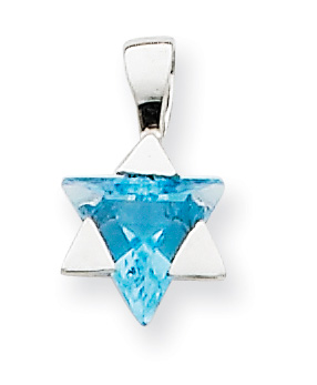 Blue Topaz Star of David Gemstone Pendant