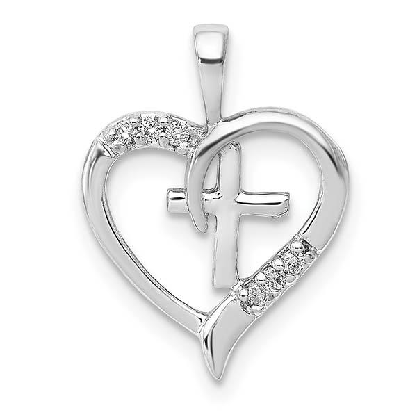 Diamond Heart Cross Pendant, 14K White Gold
