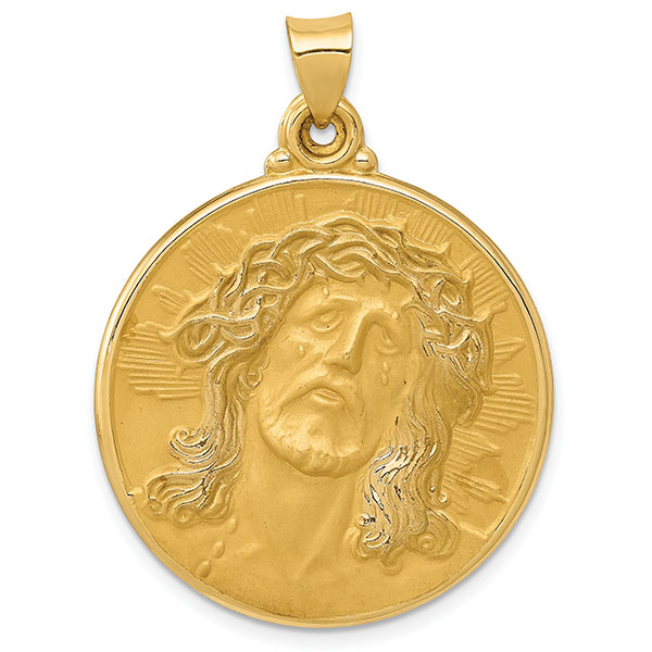 Large Christ Medallion, 14K Yellow Gold