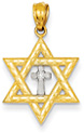 Star of David Diamond Cross Pendant, 14K Gold