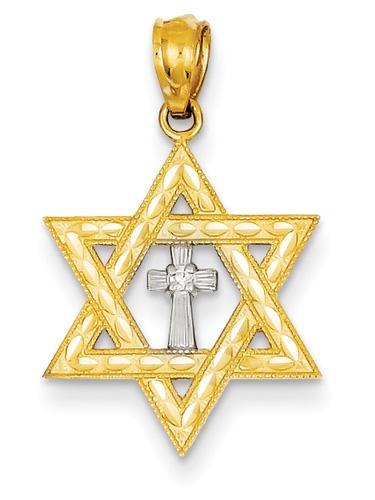 Star of David Diamond Cross Pendant, 14K Gold