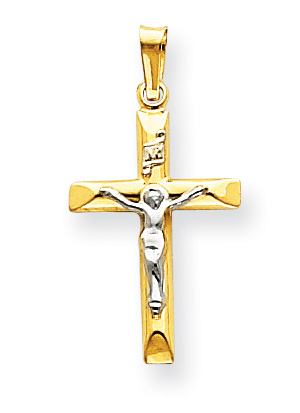 14K Two-Tone Gold Crucifix Pendant