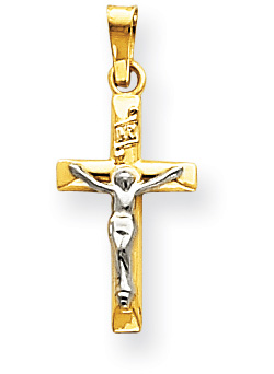 Small Crucifix Pendant in 14K Two-Tone Gold