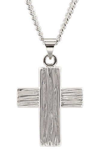 The Rugged Cross Pendant, 14K White Gold