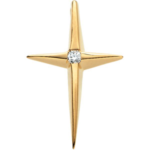 Star of Bethlehem Diamond Cross Pendant, 14K Gold
