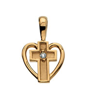Small Diamond Heart Cross Pendant, 14K Gold