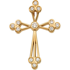 The Trinity Diamond Cross Pendant, 14K Gold