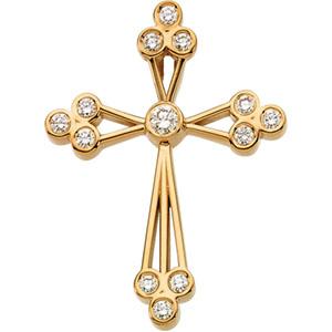 The Trinity Diamond Cross Pendant, 14K Gold