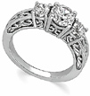 Sterling Silver 3-Stone Paisley Cubic Zirconia Engagement Ring