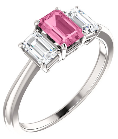 Pink Sapphire Emerald-Cut 1/2 Carat Diamond Ring in 14K White Gold