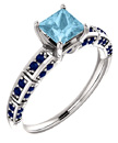 Princess-Cut Aquamarine and Sapphire Ring in 14K White Gold