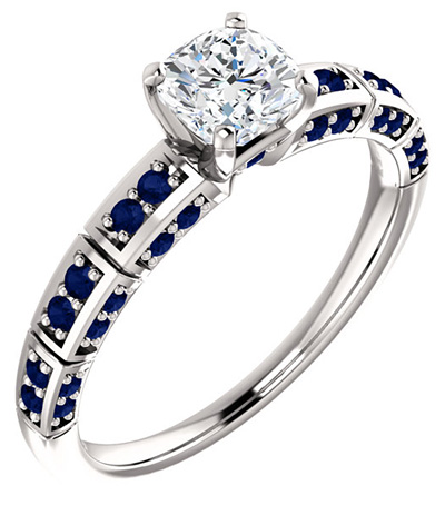Antique Square Moissanite and Sapphire Ring in 14K White Gold