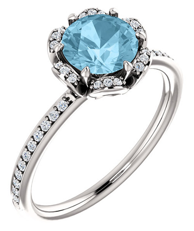 Floral-Inspired Aquamarine and Diamond Ring in 14K White Gold